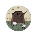Reloj de pared de las ovejas del granero