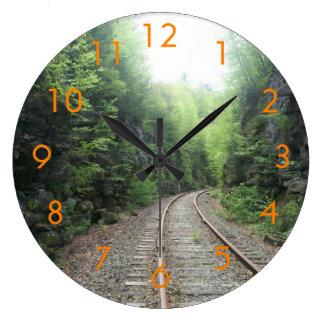 Reloj de pared de las pistas de ferrocarril