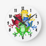 Reloj de pared de las ranas del arco iris