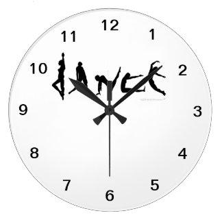 Reloj de pared de las siluetas de los bailarines d