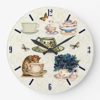Reloj de pared de las tazas de té del vintage y de