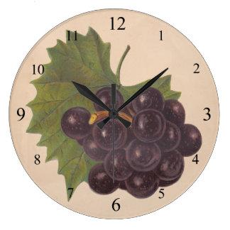Reloj de pared de las uvas del vintage