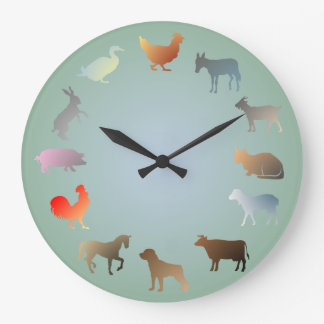 Reloj de pared de los animales del campo