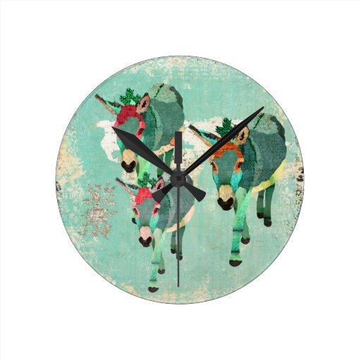 Reloj de pared de los azules claros de los burros