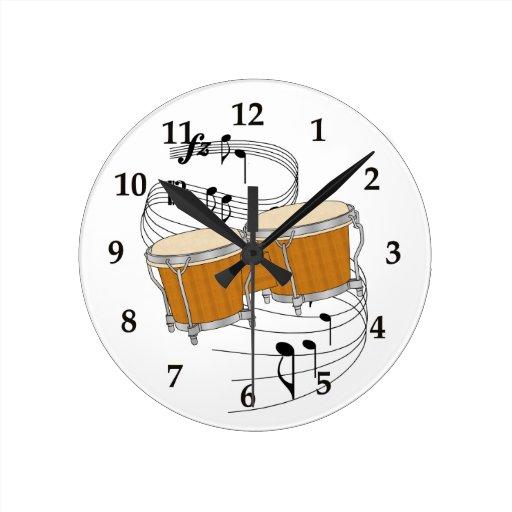 Reloj de pared de los bongos