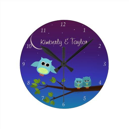 Reloj de pared de los búhos de la tarde
