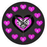 Reloj de pared de los corazones de la cebra