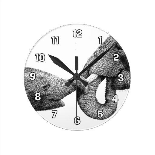 Reloj de pared de los elefantes africanos