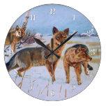 Reloj de pared de los lobos
