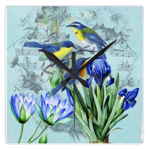 Reloj de pared de los pájaros cantantes del boda