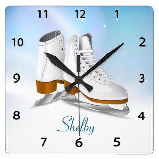 Reloj de pared de los patines de hielo
