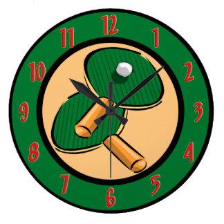 Reloj de pared de los tenis de mesa