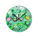 reloj de pared de lujo digital de los corazones ve