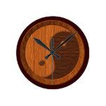 Reloj de pared de madera de la novedad de Yin Yang
