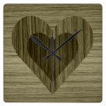 Reloj de pared de madera de los corazones del efec