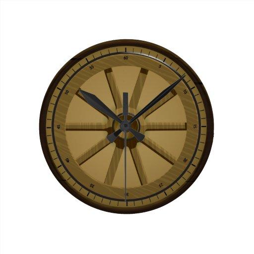 Reloj de pared de madera de Whell del vintage