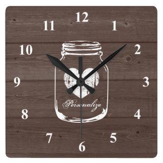 Reloj de pared de madera rústico del panel del