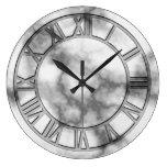 Reloj de pared de mármol gris de la impresión