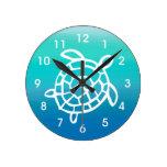 Reloj de pared de OceanWatercolors de la tortuga d
