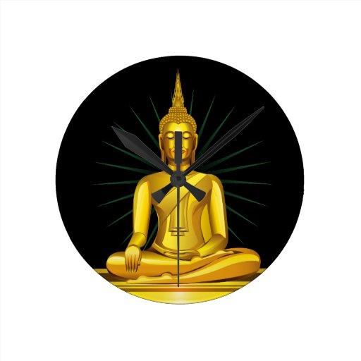 Reloj de pared de oro de Buda