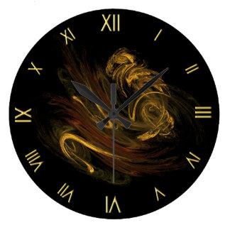 Reloj de pared de oro del fractal del humo
