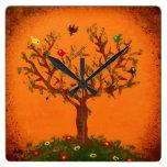 Reloj de pared de papel de los pájaros del árbol