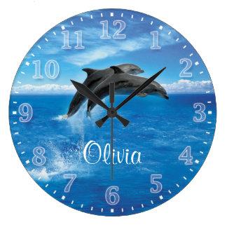 Reloj de pared de Personalizable de los delfínes