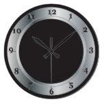 Reloj de pared de plata y negro