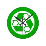 reloj de pared de reciclaje blanco verde del logot