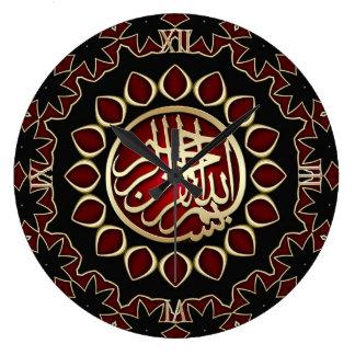 Reloj de pared de rubíes rojo de la caligrafía de