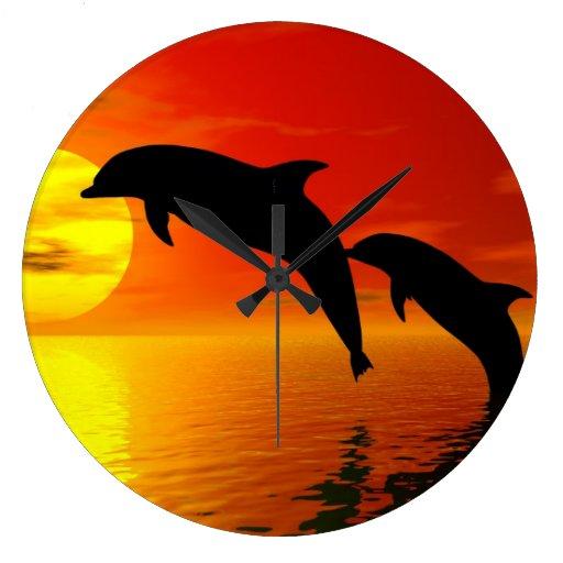 Reloj de pared de salto de la puesta del sol de lo