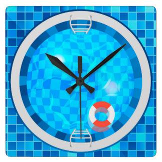 Reloj de pared de Suare de la piscina