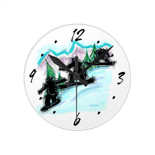 Reloj de pared decorativo de la montaña del Snowbo
