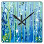 Reloj de pared decorativo de la música azul