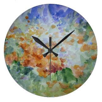 Reloj de pared decorativo de las amapolas del