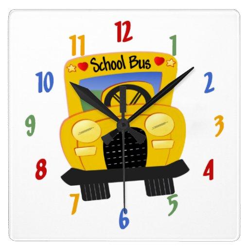 Reloj de pared decorativo del autobús escolar
