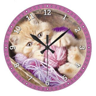 Reloj de pared decorativo del gatito