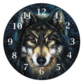 Reloj de pared decorativo del lobo