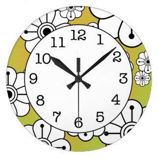 Reloj de pared decorativo floral enrrollado