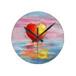 Reloj de pared del aceo del corazón del ajuste