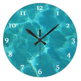 Reloj de pared del agua de azules turquesas