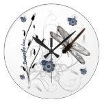 Reloj de pared del amor de la libélula