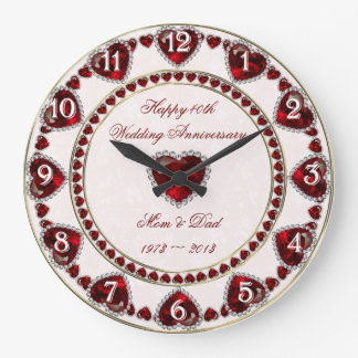 Reloj de pared del aniversario de boda del damasco