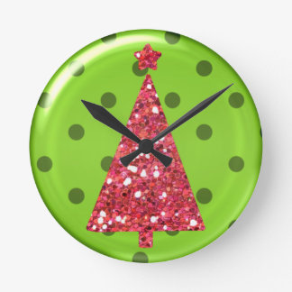 Reloj de pared del árbol del ornamento del navidad