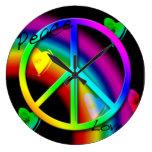 Reloj de pared del arco iris de la paz y del amor