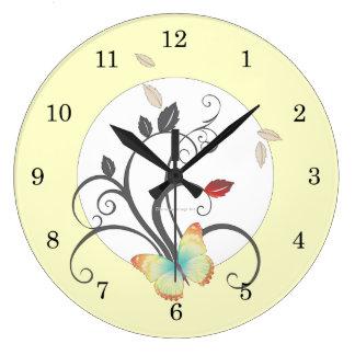 Reloj de pared del art déco de la flor de mariposa
