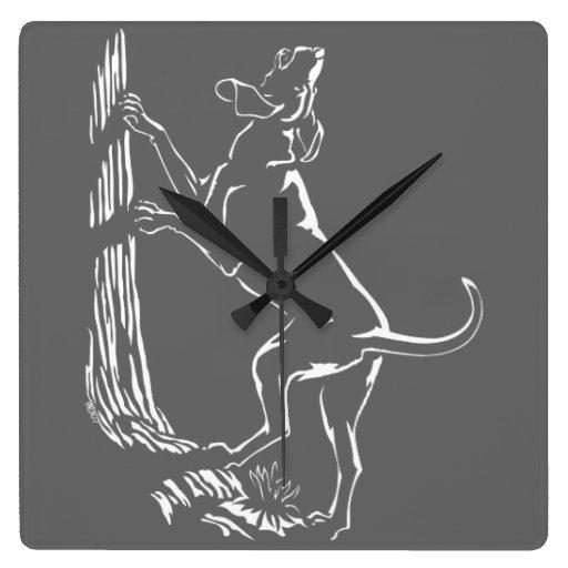 Reloj de pared del arte del perro de caza del relo