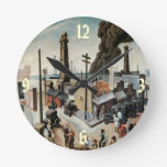 Reloj de pared del arte del vintage del Boomtown