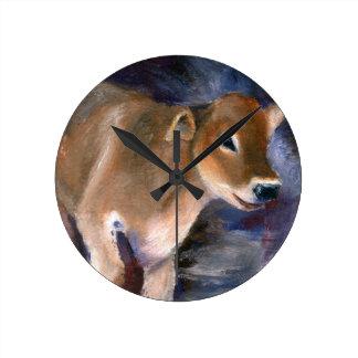 Reloj de pared del becerro del suizo de Brown