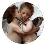 Reloj de pared del beso de los ángeles
